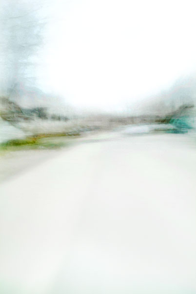 Convergent series, day, colour photograph, art, abstract, abstract expressionism, creative, city street, urban, downtown, cityscape, speed, blur, movement, motion, green, turquoise, muted, smear, tree, wedge, shape