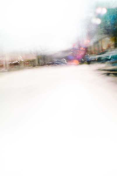 Convergent series, day, colour photograph, art, abstract, abstract expressionism, creative, city street, urban, downtown, cityscape, speed, blur, movement, motion, turquoise, fuchsia, muted, wedges, shape