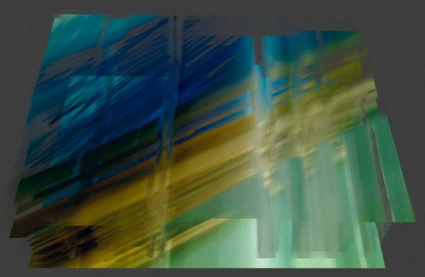 Light Series, 2015, william oldacre, day, colour photograph, art, abstract, abstract expressionism, creative, city street, urban, downtown, cityscape, speed, blur, movement, motion, blue, turquoise, yellow, green, muted, streaks, shape, 3D, render, animation
