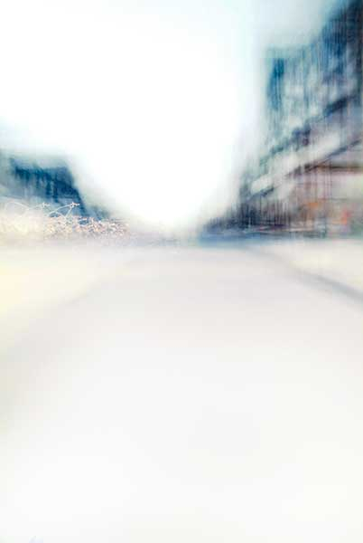 Convergent series, day, colour photograph, art, abstract, abstract expressionism, creative, city street, urban, downtown, cityscape, speed, blur, movement, motion, blue, muted, wedges, shape