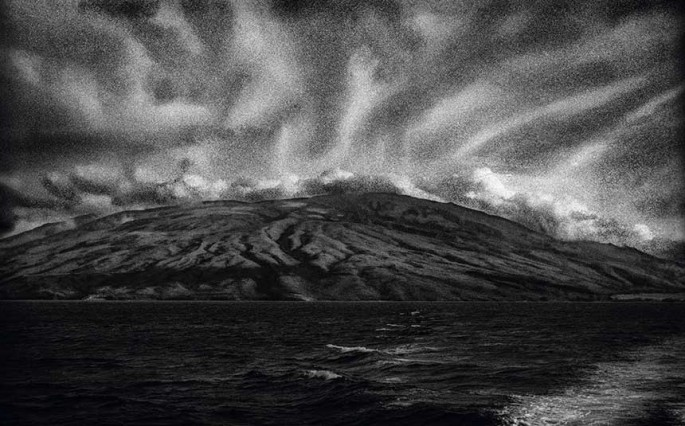 A Priori series, day, black and white photograph, art, creative, landscape, muted, mountain, streaks, ocean, wedges, shape