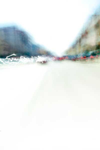 Convergent series, day, colour photograph, art, abstract, abstract expressionism, creative, city street, urban, downtown, cityscape, speed, blur, movement, motion, blue, beige, muted, wedges, shape