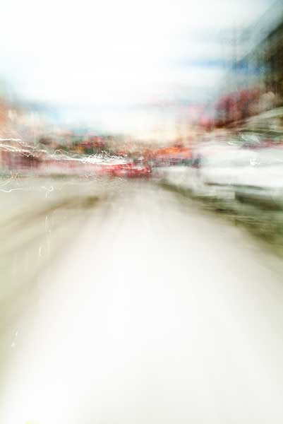 Convergent series, day, colour photograph, art, abstract, abstract expressionism, creative, city street, urban, downtown, cityscape, speed, blur, movement, motion, red, beige, muted, wedges, smear, shape
