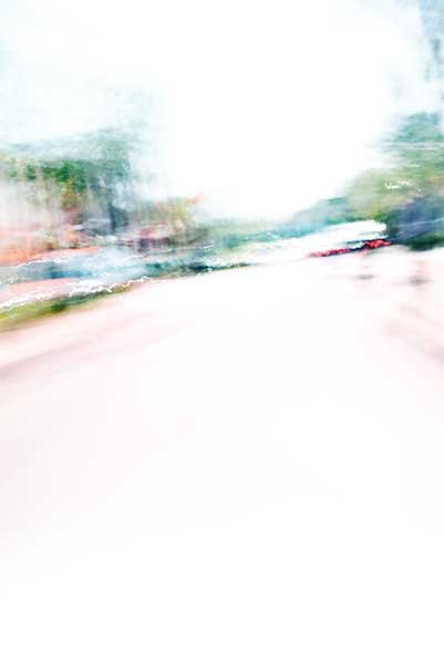 Convergent series, day, colour photograph, art, abstract, abstract expressionism, creative, city street, urban, downtown, cityscape, speed, blur, movement, motion, green, orange, muted, wedges, pattern