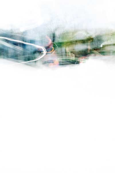 Convergent series, day, colour photograph, art, abstract, abstract expressionism, creative, city street, urban, downtown, cityscape, speed, blur, movement, motion, green, blue, turquoise, muted, smears, pattern