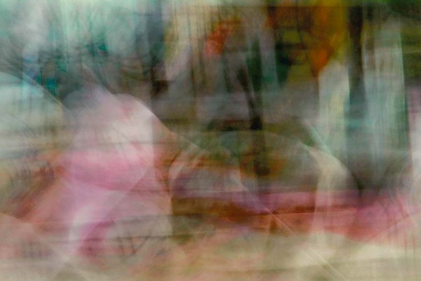 Light Signatures series, day, colour photograph, art, abstract, abstract expressionism, creative, city street, urban, downtown, cityscape, speed, blur, movement, motion, turquoise, pink, orange, muted, swoops, circles, pattern