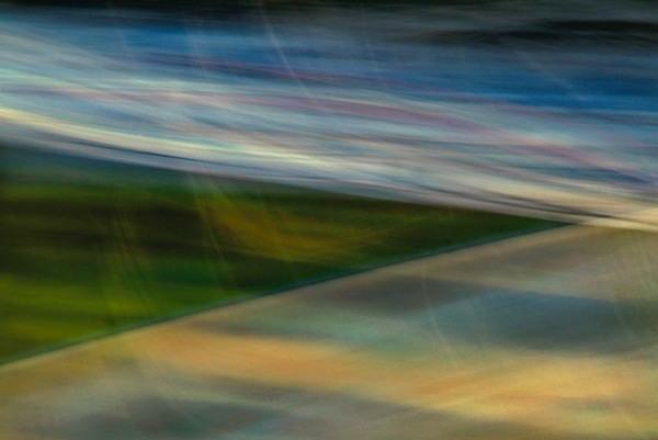 Light Signatures series, day, colour photograph, art, abstract, abstract expressionism, creative, city street, urban, downtown, cityscape, speed, blur, movement, motion, green, blue, yellow, muted, streaks, wedge, pattern