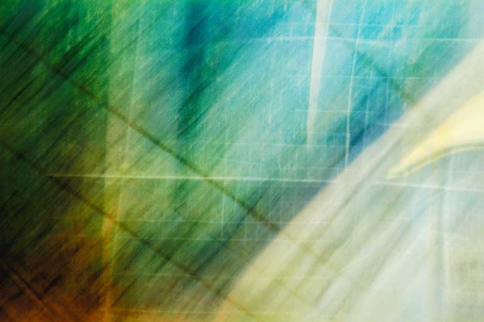 Light Signatures series, day, colour photograph, art, abstract, abstract expressionism, creative, city street, urban, downtown, cityscape, speed, blur, movement, motion, green, blue, yellow ,vibrant, squares, shape, pattern, lines, streaks, checkered
