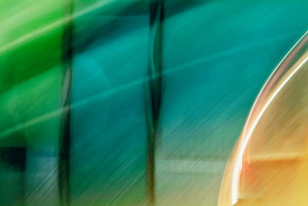 Light Signatures series, day, colour photograph, art, abstract, abstract expressionism, creative, city street, urban, downtown, cityscape, speed, blur, movement, motion, green, turquoise, yellow, grooves, streaks, lines, pattern