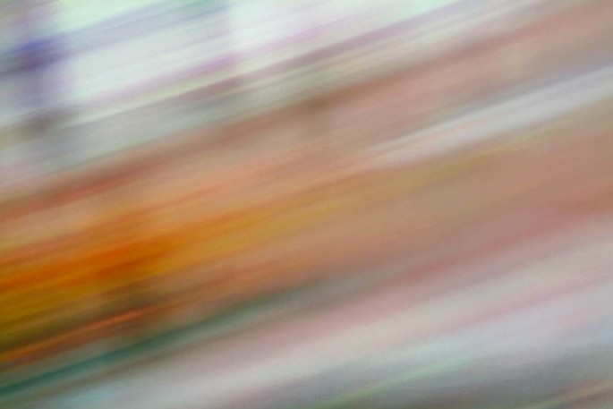 Light Signatures series, day, colour photograph, art, abstract, abstract expressionism, creative, city street, urban, downtown, cityscape, speed, blur, movement, motion, orange, mauve, streaks, pattern