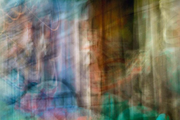 Light Signatures series, day, colour photograph, art, abstract, abstract expressionism, creative, city street, urban, downtown, cityscape, speed, blur, movement, motion, mauve, blue, turquoise, muted, stripes, streaks, lines, pattern
