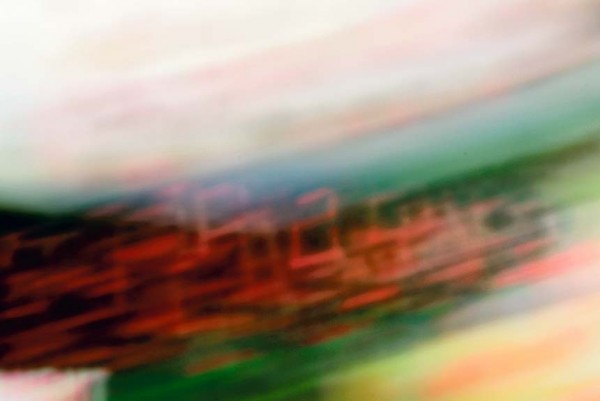 Light Signatures series, day, colour photograph, art, abstract, abstract expressionism, creative, city street, urban, downtown, cityscape, speed, blur, movement, motion, red, green ,vibrant, figures, streaks, patterns, shapes