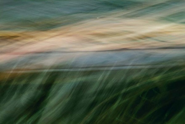 Light Signatures series, day, colour photograph, art, abstract, abstract expressionism, creative, city street, urban, downtown, cityscape, speed, blur, movement, motion, red, blue, green, orange , muted, streaks, ripples, pattern