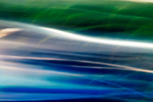 Light Signatures series, day, colour photograph, art, abstract, abstract expressionism, creative, city street, urban, downtown, cityscape, speed, blur, movement, motion, red, blue, green , muted, streaks, waves, pattern