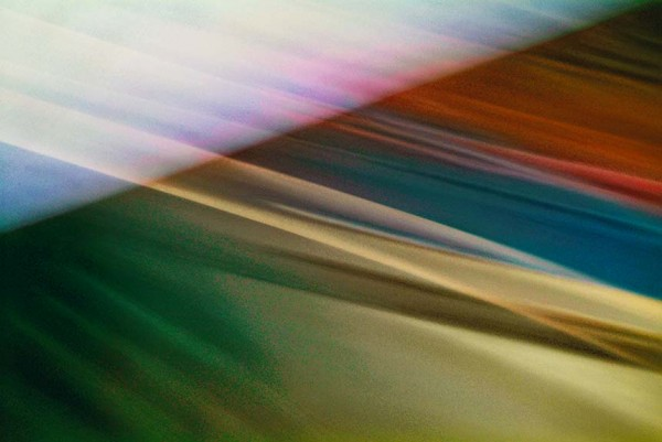 Light Signatures series, day, colour photograph, art, abstract, abstract expressionism, creative, city street, urban, downtown, cityscape, speed, blur, movement, motion, red, blue, yellow, muted, streaks, pattern