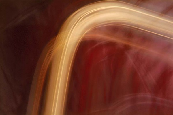 Light Signatures series, day, colour photograph, art, abstract, abstract expressionism, creative, city street, urban, downtown, cityscape, speed, blur, movement, motion, red, burgundy, yellow ,vibrant, swoosh, pattern