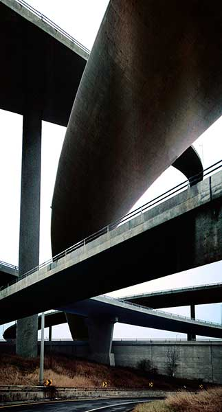 A Priori series, black and white photograph, art, abstract, abstract expressionism, creative, highways, bridges, on ramp, off ramp, roadway, black, white, ribbons, shape