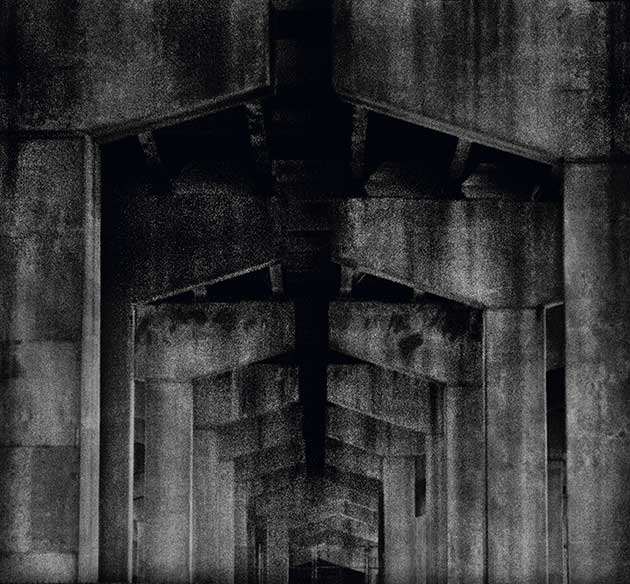 A Priori series, black and white photograph, art, abstract, abstract expressionism, creative, tunnel, arches, pentagon arches, black, grey, shapes, pentagon, patterns