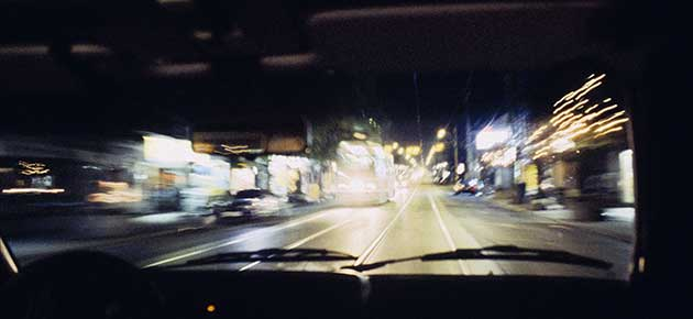 A Priori series, night, nite, colour photograph, art, abstract, abstract expressionism, creative, city street, urban, downtown, cityscape, speed, blur, movement, motion, yellow, vibrant