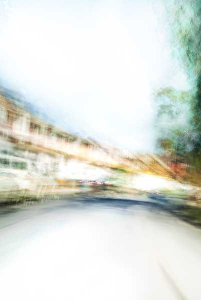 Convergent series, day, colour photograph, art, abstract, abstract expressionism, creative, city street, urban, downtown, cityscape, speed, blur, movement, motion, vibrant, yellow, cyan, blue, green, shape, streak
