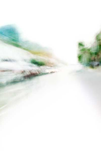Convergent series, day, colour photograph, art, abstract, abstract expressionism, creative, city street, urban, downtown, cityscape, speed, blur, movement, motion, green, blue ,muted, wedges, shape