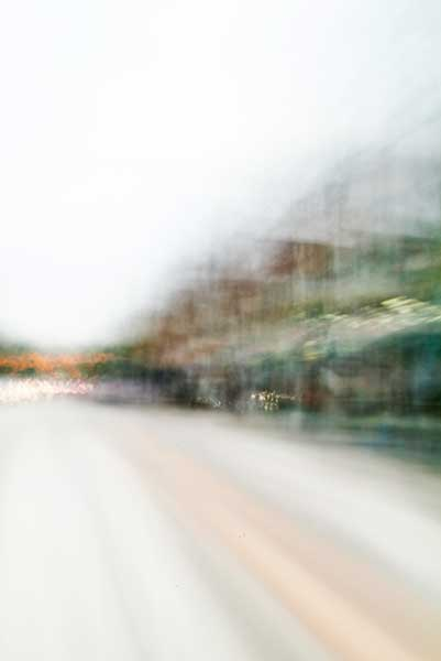 Convergent series, William Oldacre, 2015, day, colour photograph, art, abstract, abstract expressionism, creative, Toronto, Ontario, Canada, North America, city street, urban, downtown, cityscape, speed, blur, movement, motion, muted, green, brown, orange, shape, wedge