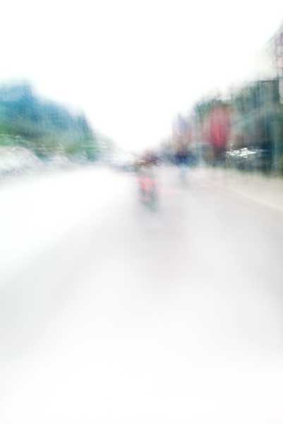 Convergent series, day, colour photograph, art, abstract, abstract expressionism, creative, city street, urban, downtown, cityscape, speed, blur, movement, motion, blue,green, red, muted, wedge, shape