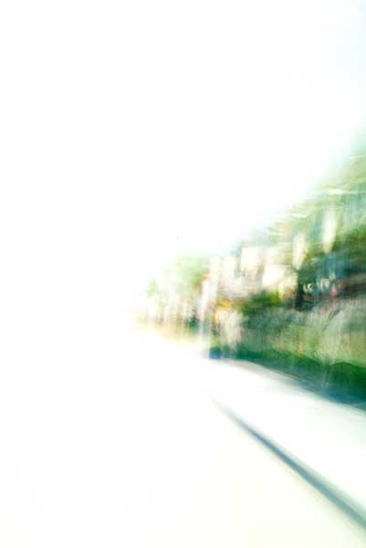pulse, storm, Convergent series, day, colour photograph, art, abstract, abstract expressionism, creative, city street, urban, downtown, cityscape, speed, blur, movement, motion, green, blue, muted, wedge, shape