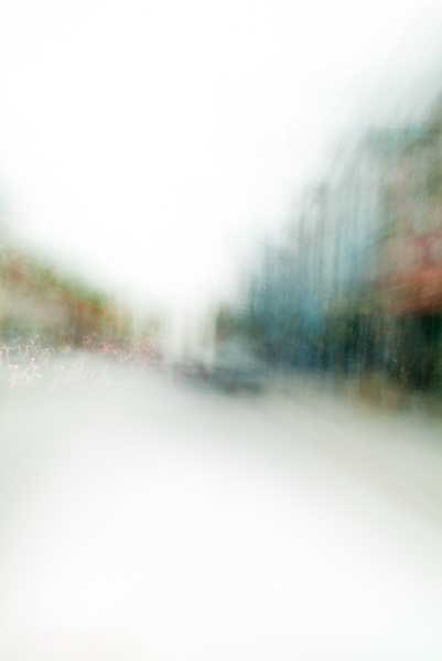 Convergent series, day, colour photograph, art, abstract, abstract expressionism, creative, city street, urban, downtown, cityscape, speed, blur, movement, motion, green, blue, orange, muted, wedge, shape