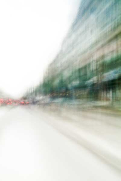 Convergent series, day, colour photograph, art, abstract, abstract expressionism, creative, city street, urban, downtown, cityscape, speed, blur, movement, motion, green, blue, red, muted, wedge, shape