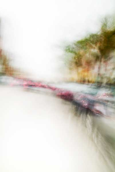 Convergent series, day, colour photograph, art, abstract, abstract expressionism, creative, city street, urban, downtown, cityscape, speed, blur, movement, motion, yellow, green, red, blue, muted, wedge, shape