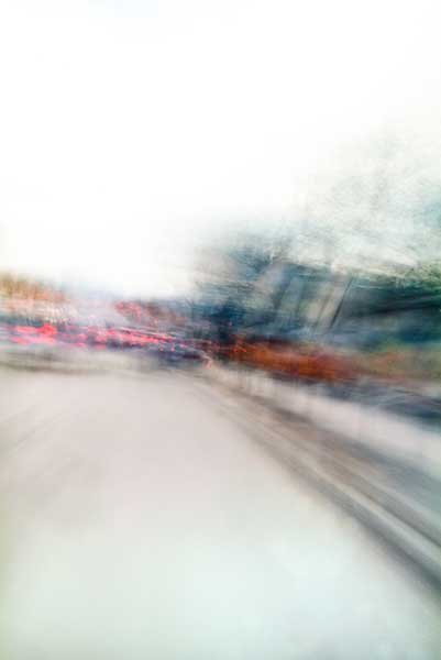 Convergent series, day, colour photograph, art, abstract, abstract expressionism, creative, city street, urban, downtown, cityscape, speed, blur, movement, motion, blue, orange, red, vibrant, wedge, shape