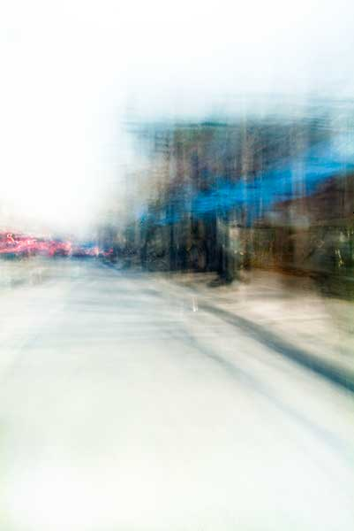 Convergent series, day, colour photograph, art, abstract, abstract expressionism, creative, city street, urban, downtown, cityscape, speed, blur, movement, motion, blue, brown, red, vibrant, wedge, shape