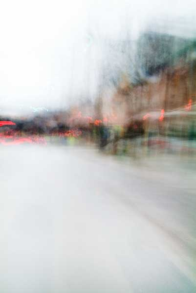 Convergent series, day, colour photograph, art, abstract, abstract expressionism, creative, city street, urban, downtown, cityscape, speed, blur, movement, motion, orange, green, red, vibrant, wedge, shape