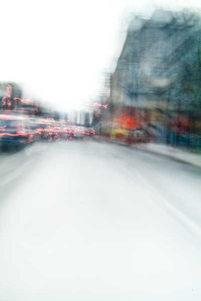 Convergent series, day, colour photograph, art, abstract, abstract expressionism, creative, city street, urban, downtown, cityscape, speed, blur, movement, motion, red, blue, yellow, vibrant, wedge, shape