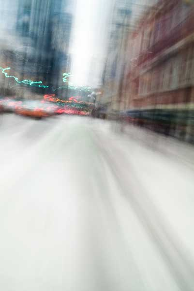 Convergent series, day, colour photograph, art, abstract, abstract expressionism, creative, city street, urban, downtown, cityscape, speed, blur, movement, motion, blue, red, orange, vibrant, wedge, shape
