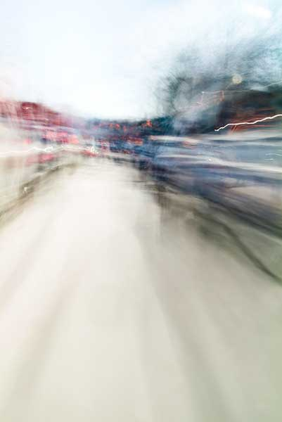 Convergent series, day, colour photograph, art, abstract, abstract expressionism, creative, city street, urban, downtown, cityscape, speed, blur, movement, motion, blue, red, green, vibrant, wedge, shape