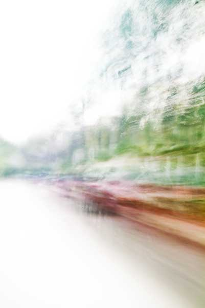 Convergent series, day, colour photograph, art, abstract, abstract expressionism, creative, city street, urban, downtown, cityscape, speed, blur, movement, motion, green, orange, red, vibrant, wedge, shape
