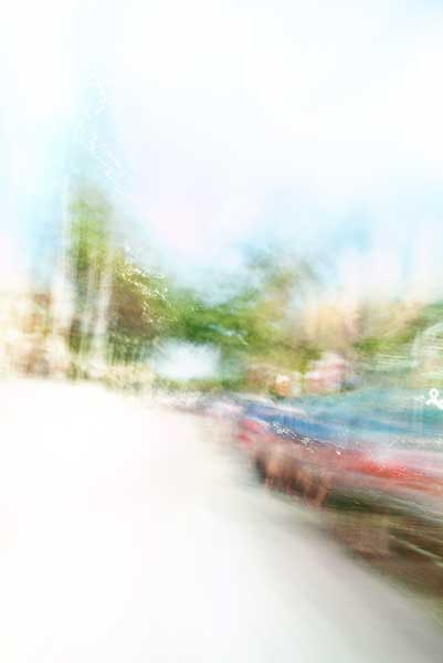 Convergent series, day, colour photograph, art, abstract, abstract expressionism, creative, city street, urban, downtown, cityscape, speed, blur, movement, motion, green, red, blue, vibrant, wedge, shape