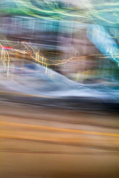 day, colour photograph, art, abstract expressionism, creative, city street, urban, downtown, cityscape, speed, blur, movement, motion, brown, blue, mauve, green, vibrant