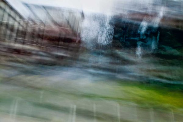 abstract expressionism, city street, urban, movement, motion, mauve, green, blue, vibrant