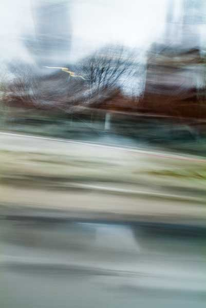abstract expressionism, city street, urban, movement, motion, grey, mauve, green, vibrant
