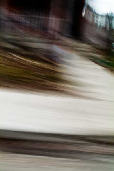 abstract expressionism, city street, urban, movement, motion, mauve, brown, green, vibrant