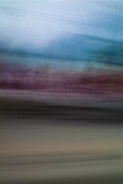 abstract expressionism, city street, urban, movement, motion, blue, mauve, brown, vibrant