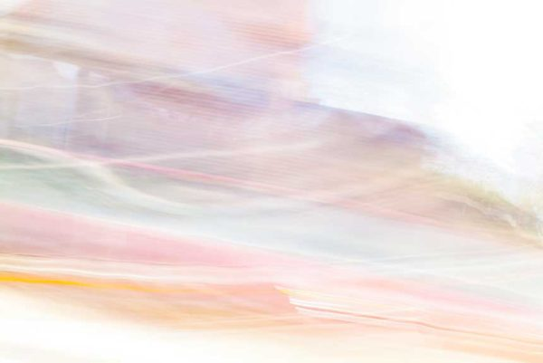 abstract expressionism, city street, urban, movement, motion, mauve, orange, red, vibrant