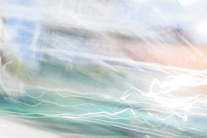 abstract expressionism, city street, urban, movement, motion, green, orange, blue, vibrant