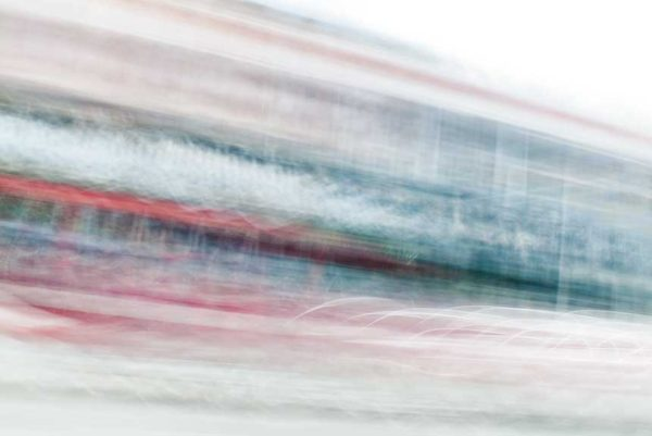 abstract expressionism, city street, urban, movement, motion, red, green, blue, vibrant