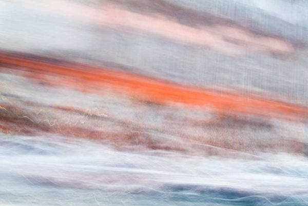 Convergent series, day, colour photograph, art, abstract, abstract expressionism, creative, city street, urban, downtown, cityscape, speed, blur, movement, motion, orange, blue, pink, vibrant, wedge, shape