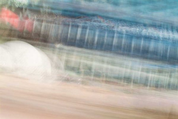 abstract expressionism, city street, urban, movement, motion, blue, red, brown, vibrant