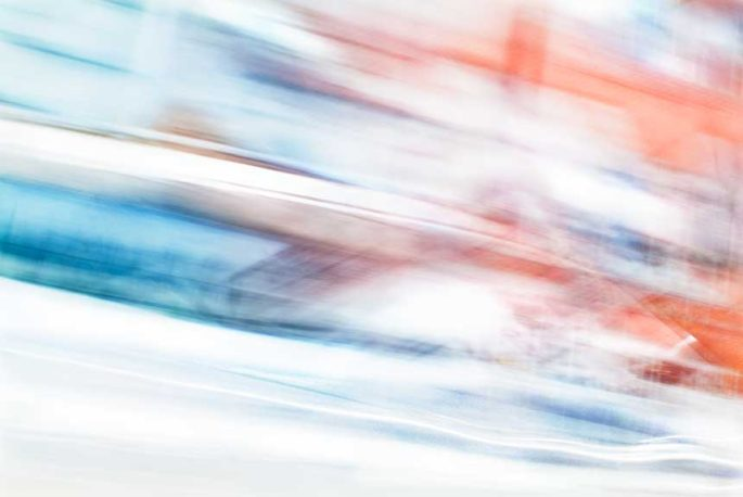 abstract expressionism, city street, urban, movement, motion, blue, orange, turquoise, vibrant